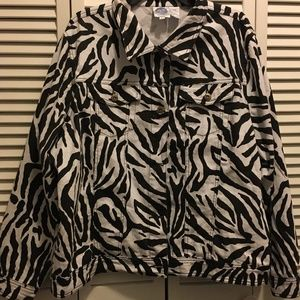 Zebra stripe denim jacket